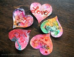 """Love these glue """"batik"""" valentines! Plus there's a fun list of more Valentine's Day activities on this list at Chalk in My Pocket..."""