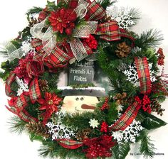 "Flaky Snowman Wreath door Christmas Holiday ""All My Friends are Flakes!"" design by cabincovecreations, $125.00 christmas wreaths, christma wreath, wreath door, snowman wreath, christmas holidays, ribbon, christma decor, christma holiday, door christma"