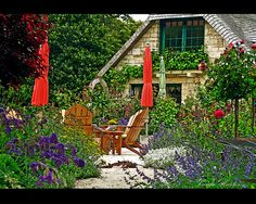seas, cottag garden, cottage gardens, garden umbrella, carmelbyth sea, cottages, backyard, fairytal cottag, cozi cottag