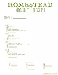 Monthly+Homesteading+Checklist+**freebie**