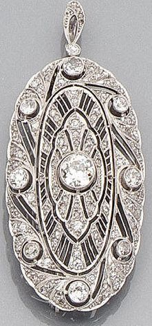An art deco diamond pendant/brooch, circa 1930