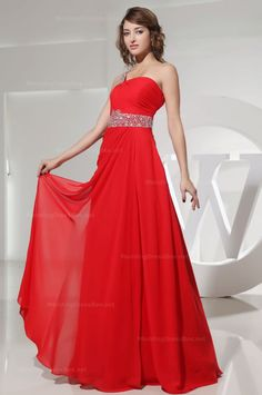 One-shoulder beaded waist floor length chiffon dress