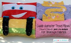 Cuddle™ Character Travel Pillows - Tutorial by @jeni ro designs - Up on our blog, My Cuddle Corner http://shannonfabrics.com/blog/2014/05/02/cuddle-character-travel-pillows/ #CuddleCharacterPillows #CuddleCharacterTravelPillows