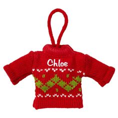 Personalized Mini Knit Sweater Ornament - Red - Christmas Ornaments