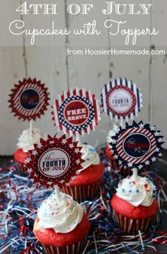 Printable Fourth of July CupcakeToppers – free download with subscription (free) plus red, white & blue cupcake recipe from Hoosier Homemade.