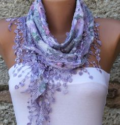 ON SALE - Multicolor Scarf  - Cotton  Scarf -  Cowl with Lace Edge - Lilac - fatwoman - Bridesmaids Gifts