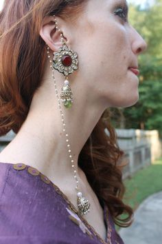 Hand made in India Earring set with long beaded by ISHQCompany, $75.00
