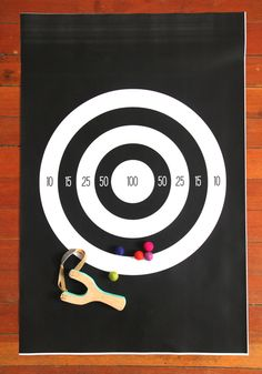 Printable poster target for slingshot and felt balls