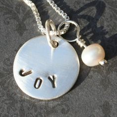 Sterling Message Necklace with Pearl. $30.00, via Etsy.