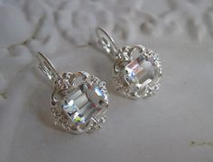 Bridal Earrings - Vintage Inspired Bridal Swarovski Crystal Earrings - Silver -$52.00