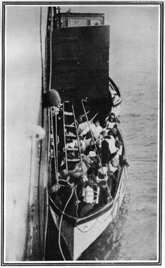 A rope step ladder from one of Titanic's lifeboats is connected to the Carpathia to bring in survivors. The Carpathia was sailing from New Y...