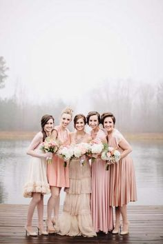 Beautiful Assorted Bridesmaid Gowns // BHLDN Rosecliff Gown and Twobirds Bridesmaid Dresses // Blush Pink and Gold Winter Wedding Inspiration