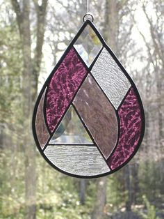 Abstract rain drop stained glass panel.