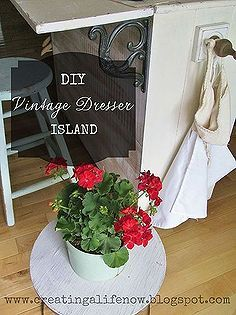 no money diy vintage dresser island, diy, kitchen island, painted furniture, repurposing upcycling, woodworking projects