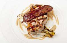 Barbecued pork chop with apple and endive - Marcus Wareing