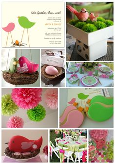 Love birds themed wedding with Fuschia + Lime Green + Light Pink + Orange (for accent)