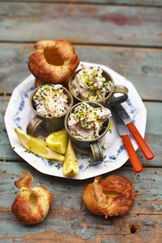 Jamie Oliver's baby Yorkshire puds (creamy smoked trout & horseradish pate).  You can put the creamy smoked fish in a big serving bowl, or put a few individual servings in teacups. Around May and June you'll start to see flowering chives, which are beautiful for decorating the top of the potted fish. This is dead quick, so easy and absolutely perfect for a starter.