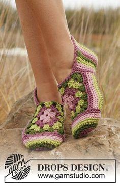 Zapatillas cuadrado crochet