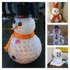 Cómo hacer muñecos de nieve con vasos de plástico