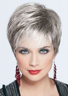Love this color!  If I can't have white hair, why can't my gray look like this????But before I have gray, I do like this cut!