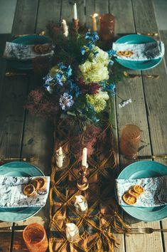 bohemian tablescape, photo by Off Beet Productions http://ruffledblog.com/bohemian-nouveau-styled-wedding #weddingideas #tablescapes