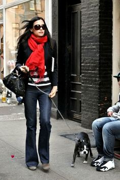 Red Scarf & Black Blazer Outfit.