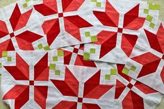 These poinsettia-ish blocks are a really fun WIP by Lee Heinrich of Freshly Pieced.