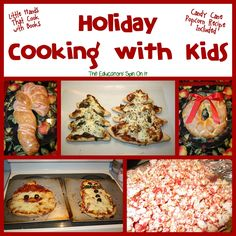 Holiday Cooking - Kale Pizza Trees, Snowman Pizza, Breads, Candy Cane Popcorn Recipe and MORE! Little Hands that Cook with Books at The Educators' Spin On It