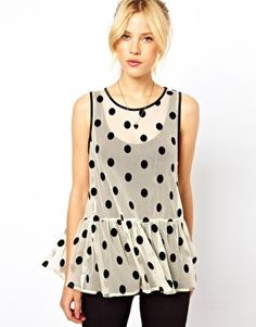 Image 1 of ASOS Top with Flocked Spots