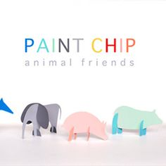 chips, kid gifts, 3d paper, paper craft, craft paint chip, kid project, paint chip animals, animal friends, craft ideas
