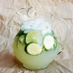 Cucumber Mint Limeade-to a large pitcher of limeade (or lemonade) add one cucumber, thinly sliced, and a handful of chopped mint leaves.