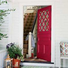 Benjamin Moore's Grand Entrance, High-Gloss, Raspberry Glaze 2078-20 (http://www.benjaminmoore.com/en-us/paint-color/raspberryglaze) red doors, the doors, raspberri glaze, dutch doors, paint colors, exterior doors, old houses, bright colored front doors, front door colors