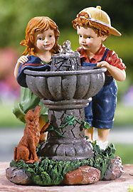 Boy, Girl & Puppy At A Drinking Fountain Sculpture