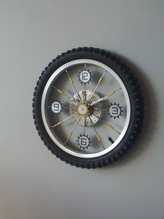 Bike Wheel Clock// boys room