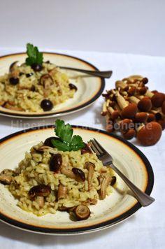 Italian Food - Risotto con funghi pioppini. (Rice with mushrooms).