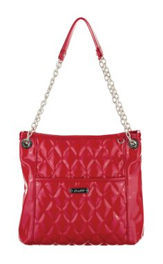 Grace Adele Handbag ~ Alex Scarlet  ~ Patent quilted bag with convertible chain straps.
