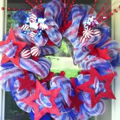 Patriotic Deco Mesh Wreath for summer