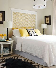Crown molding and wallpaper as headboard