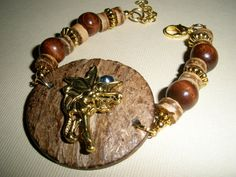 Rustic Angel Button Bracelet Wood Metal Crystal by DimmittDesigns, $15.00