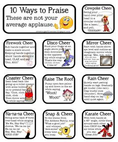 Love it-- 10 fun ways to applaud classmates. Ways for the class as a community to celebrate a student's work