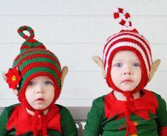Twin Christmas Hats, Baby Elf Hat, Twins, Elf Hat, Elf Beanie, Children, Siblings