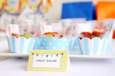 more fruit cup ideas cupcake liners, cupcake wrappers, surfs up, cupcake holders, fruit salads, birthday parties, fruit cups, 1st birthdays, parti idea