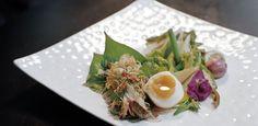 Salad of grilled Ayuthaya river prawn with lotus shoot and crispy shallot #thai #asiancuisine
