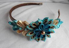 - Kanzashi headband Turquoise and chocolat