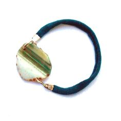 Fabric friendship bracelet with green agate one of a by lillicose, $12.00