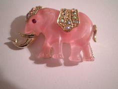 Hattie Carnegie Unsigned Pink Elephant Brooch brooch bouquet, brooch collect, eleph brooch, vintag brooch, jewelri brooch, elephant brooch