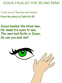 sunday school, bibl craft, jesus healed the blind man, jesus heals the blind man, bibl class, man song