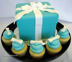 Tiffany blue wedding shower cake and cupcakes