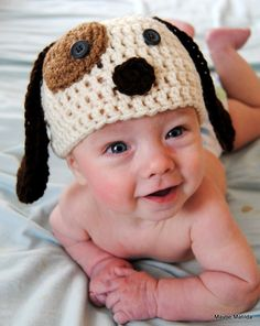 Babies crocheted puppy hat