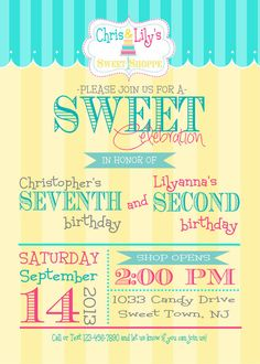 Sweet Shoppe Sweet Shop Candy Shop Birthday Party Invitation- Print Your Own on Etsy, $10.00